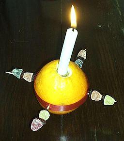Christingle - decorated orange with candle
